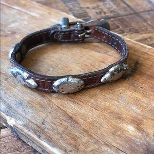 Vintage Brighton leather & silver western bracelet